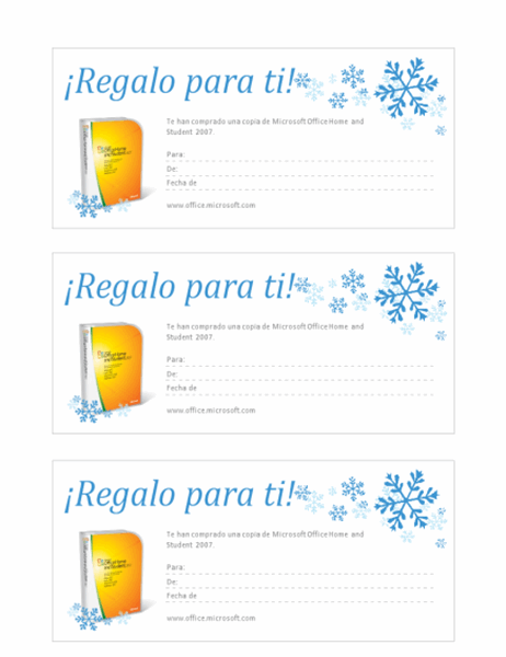 Vale de regalo de Microsoft Office Home and Student 2007