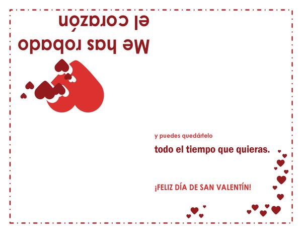 Tarjeta para el día de San Valentín (diseño con corazones; se dobla en cuatro partes)