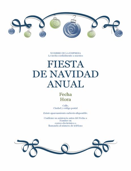 Folleto de fiesta navideña con adornos y cinta azul (diseño formal)