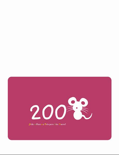 Tarjeta de felices fiestas (2008, año de la rata, medio doblez)