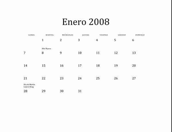 Calendario de 2008 (diseño básico, lun-dom)
