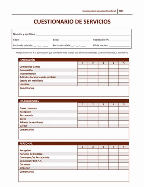 Cuestionario de servicios (Hostelería)