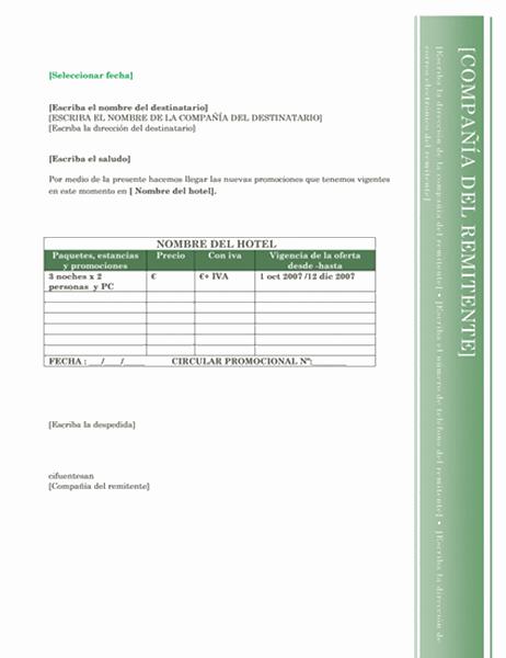 Carta para la agencia de viajes