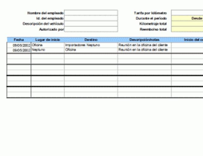 Registro de kilometraje