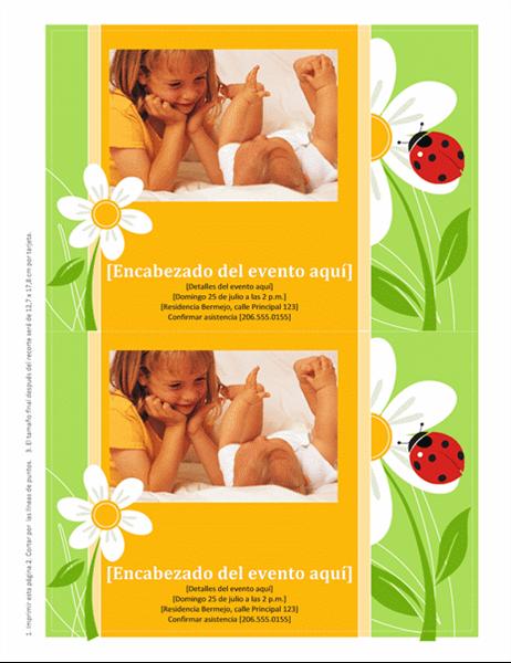 Invitaciones con espacio para colocar una foto (diseño con mariquita)