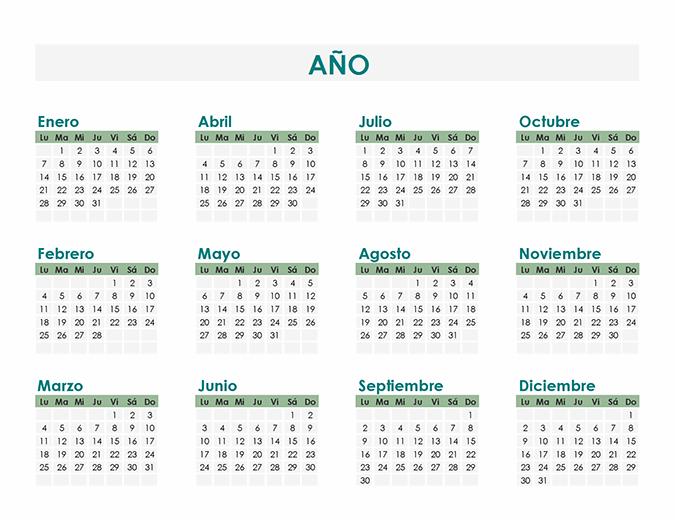 Creador de calendario (cualquier año)