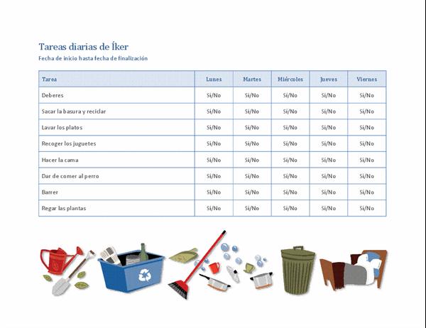 Lista de comprobación para tareas domésticas infantiles