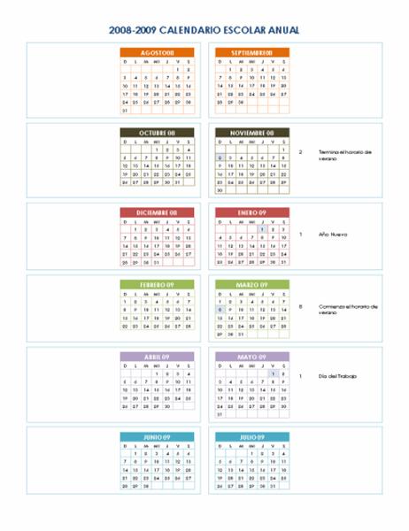 Calendario académico 2008-2009 (1 pág.)