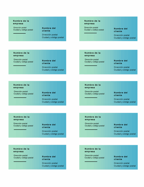 Etiquetas de envío (diseño con degradado verde, 10 por página, funciona con Avery 5163)