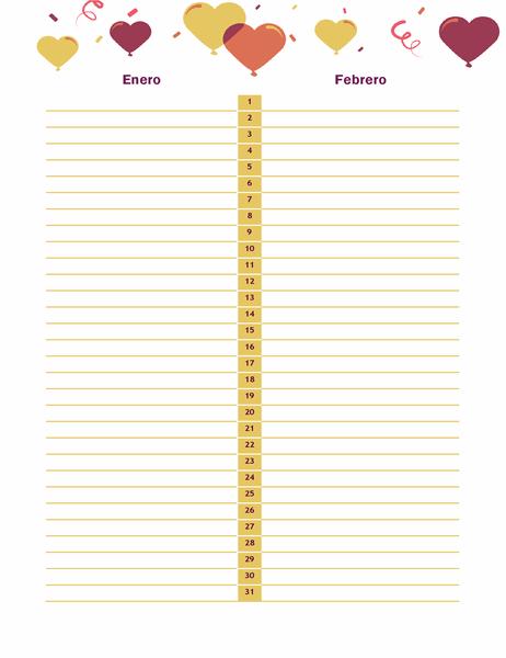 Calendario de cumpleaños y aniversarios