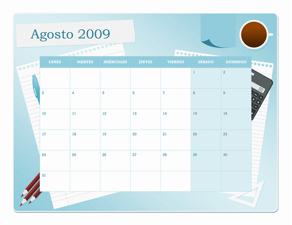 Calendario académico de 2009-2010 (agosto a agosto, lunes a domingo)