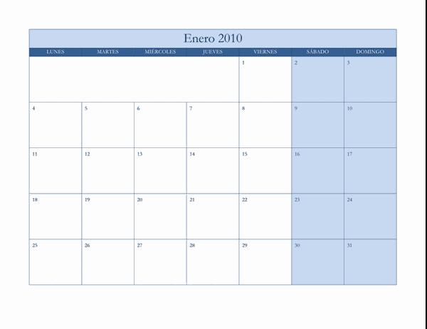 Calendario de 2010 (diseño azul clásico, lunes a domingo)