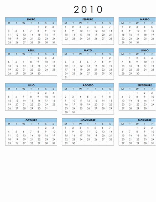 Calendario de 2010 (1 página, horizontal, lunes a domingo)