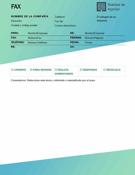 Portada de fax (diseño degradado verde)