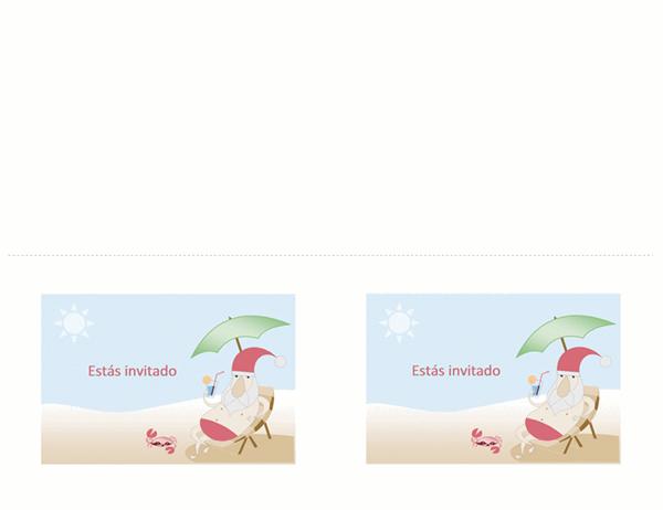 Invitación a una fiesta (diseño con Santa Claus veraniego)