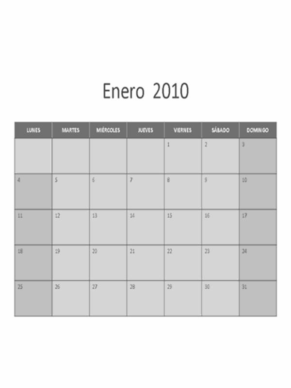 Calendario de 2010 (lunes a domingo)