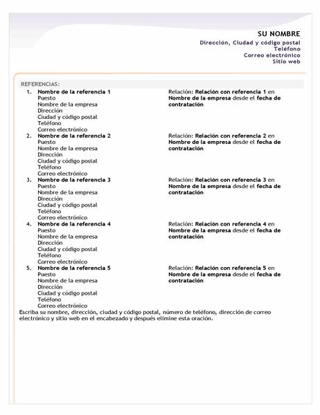 Hoja de referencias para currículum vítae básico