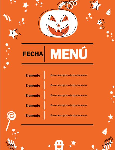 Menú de fiesta de Halloween