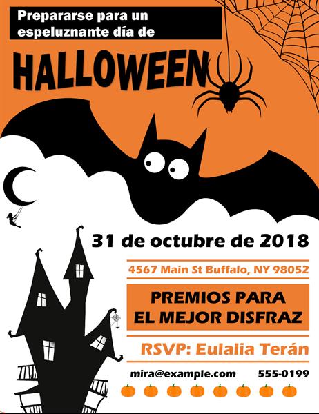 Folleto de fiesta de Halloween con murciélago horripilante