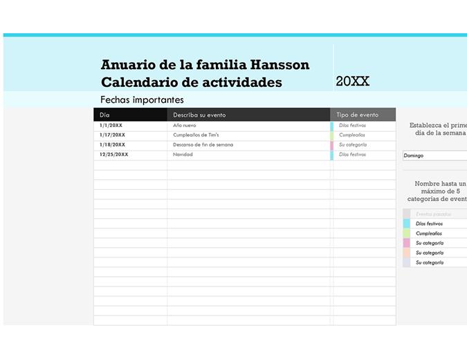 Calendario de eventos familiares