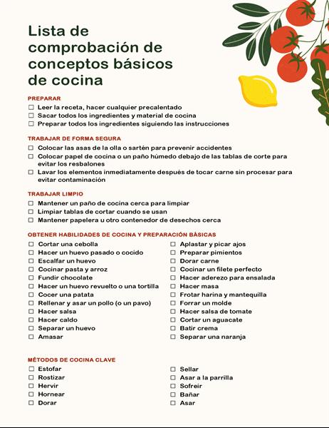 Lista de comprobación de conceptos básicos de cocina
