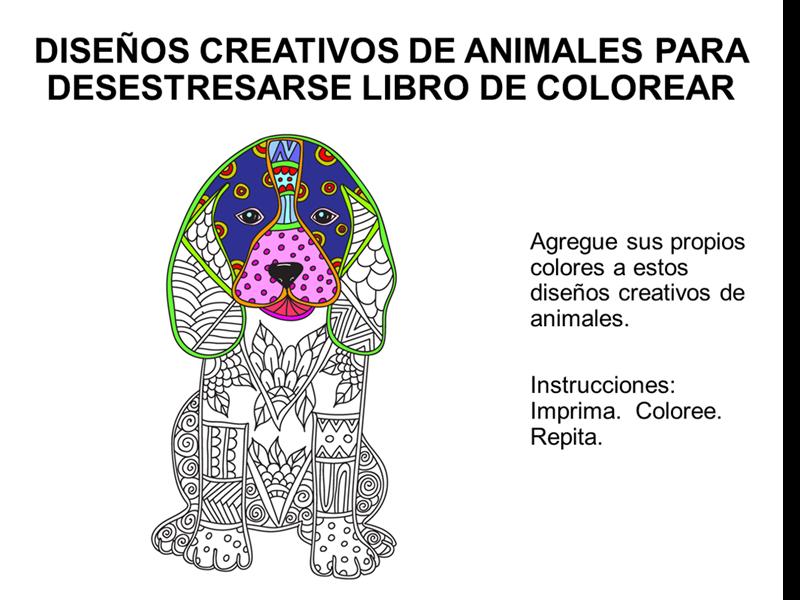 Libro desestresante para colorear diseños creativos de animales