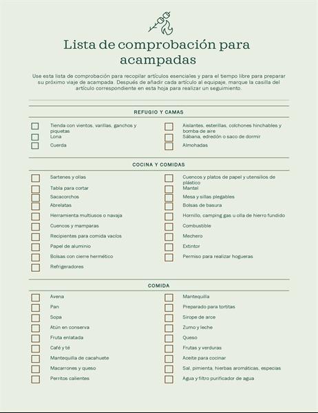 Lista de comprobación para acampadas