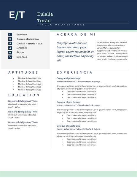 Currículum vítae con iniciales modernas