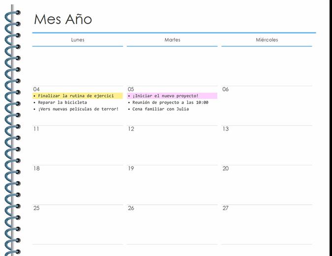 Planificador personal mensual