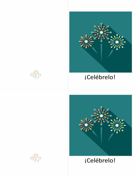 Tarjeta de celebración adornada con fuegos artificiales