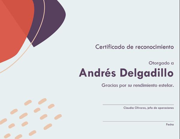 Certificado de reconocimiento para profesionales administrativos