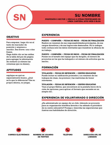 Currículum vítae elegante diseñado por MOO