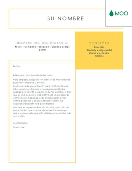 Carta de presentación impoluta diseñada por MOO
