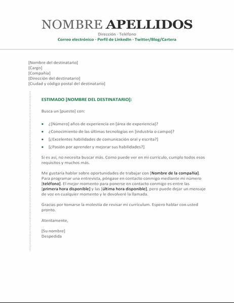 Carta de presentación cronológica moderna