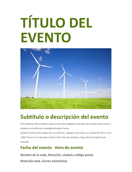 Folleto de evento (verde)