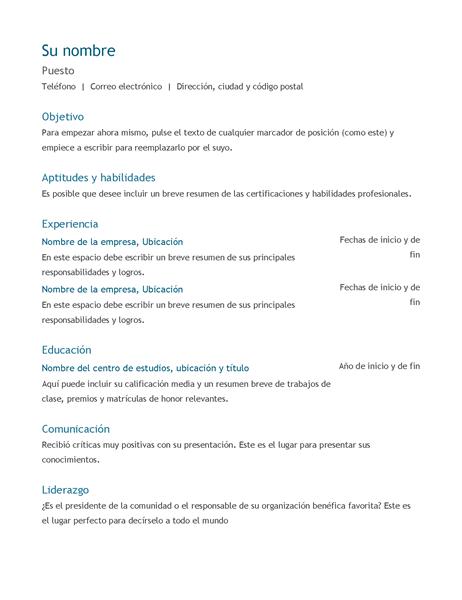 Currículum Vítae  (cronológico)