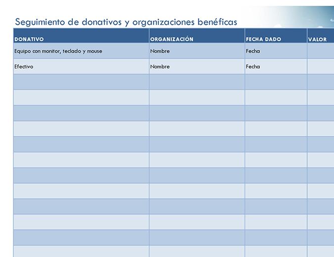 Seguimiento de donativos y organizaciones benéficas (simple)