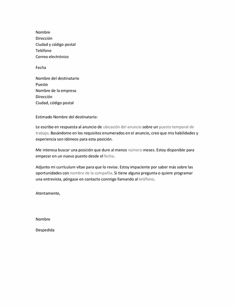 Carta de presentación del currículum vítae para un puesto temporal