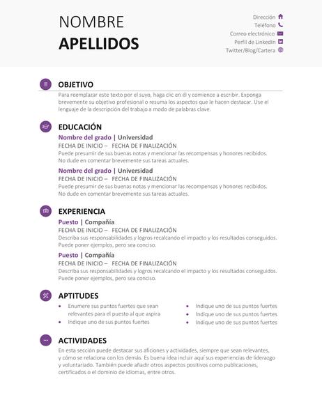 Currículo de estudiante (diseño moderno)