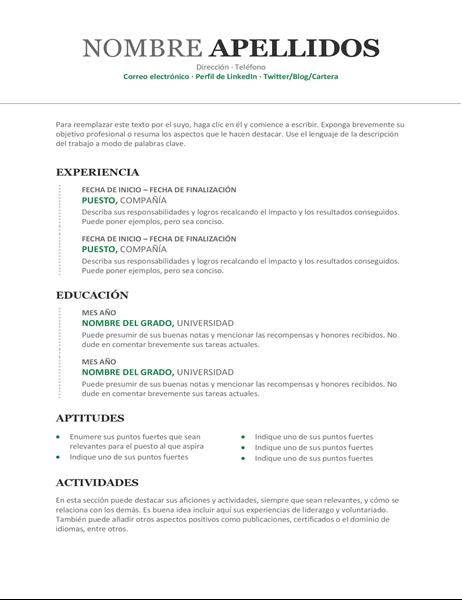 Currículum vítae cronológico moderno