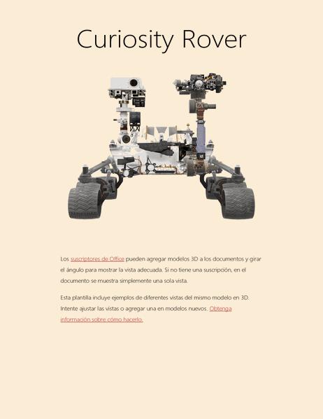 Informe de ciencias de Word en 3D (Modelo de Mars Rover)