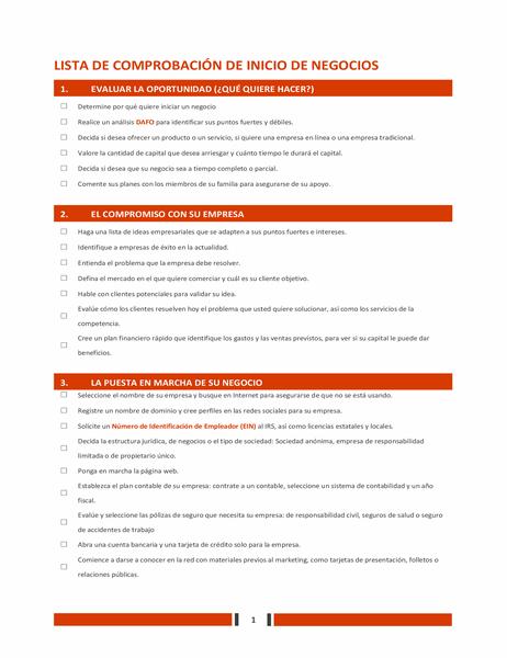 Lista de comprobación de inicio de negocios