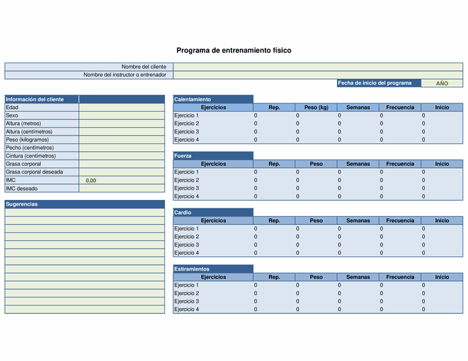 Planificador de ejercicio