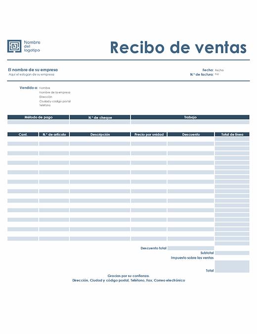 Recibo de ventas (diseño Azul sencillo)