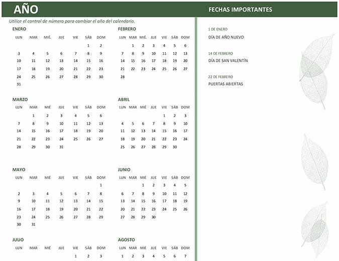 Calendario profesional (cualquier año, de lunes a domingo)