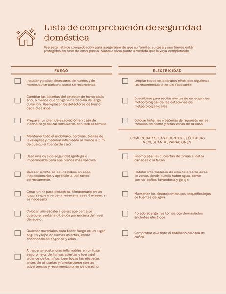 Lista de comprobación de seguridad doméstica
