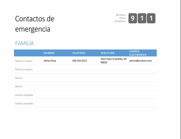 Lista llamativa de contactos de emergencia