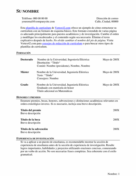 Currículum vítae extendido