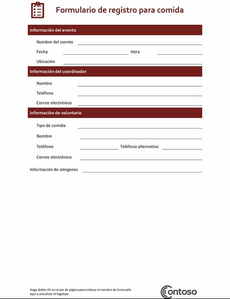 Formulario de registro para comida