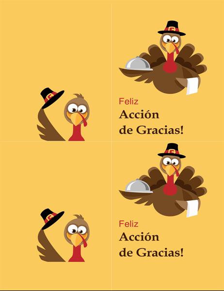 Tarjeta de Acción de Gracias de pavo alegre